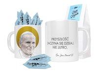 Słodki zestaw kubek ceramiczny Jan Paweł II + Boże Krówki 150g - zdjęcie