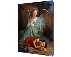 Obraz religijny na desce lipowej, Anioł Stróż - zdjęcie