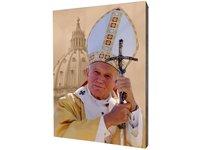 Obraz religijny na desce lipowej, Jan Paweł II - zdjęcie