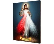 Obraz religijny na desce lipowej, Jezus Miłosierny - zdjęcie