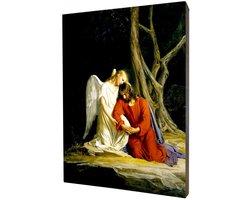 Obraz religijny na desce lipowej, Jezus w Getsemani - zdjęcie
