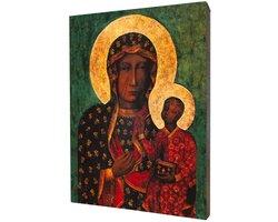 Obraz religijny na desce lipowej, Matka Boska Częstochowska - zdjęcie