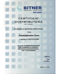Certyfikat dystrybutora BITNER - zdjęcie