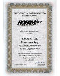 Certyfikat autoryzowanego dystrybutora ROPAM elektronik - zdjęcie