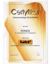 Certyfikat autoryzowanego dystrybutora SATEL - zdjęcie