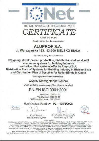 CERTIFICATE IQNet and PCBC dla firmy Aluprof