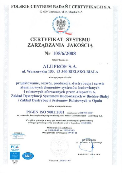 CERTYFIKAT SYSTEMU ZARZĄDZANIA JAKOŚCIĄ Nr 105/6/2008 dla firmy Aluprof