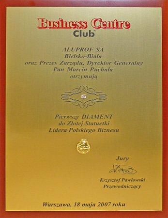 Pierwszy Diament do Złotej Statuetki Lidera Polskiego Biznesu dla firmy Aluprof