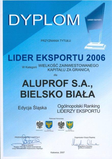 Dyplom LIDER EKSPORTU 2006 dla firmy Aluprof