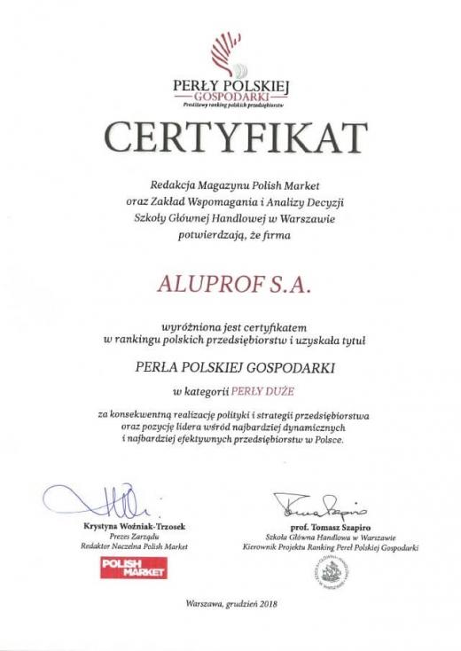 Certyfikat Perła Polskiej Gospodarki dla Aluprof