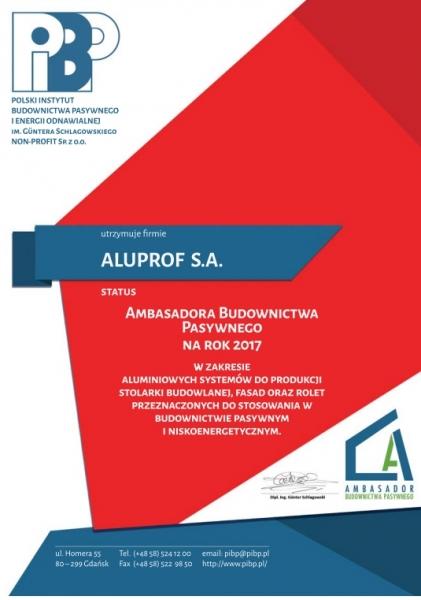 Ambasador Budownictwa Pasywnego na rok 2017, Aluprof