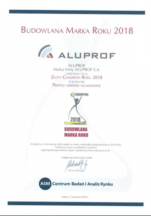 Złoty Champion Roku 2018 w kategorii Profile okienne aluminiowe dla Aluprof