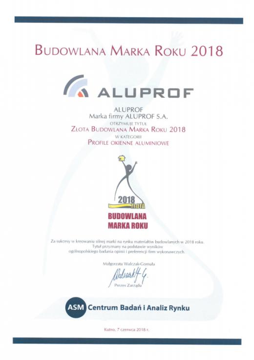 Złota Budowlana Marka Roku 2018 w kategorii Profile okienne aluminiowe dla Aluprof