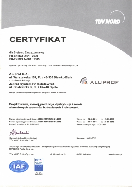 Certyfikat ISO 14001:2004, Aluprof