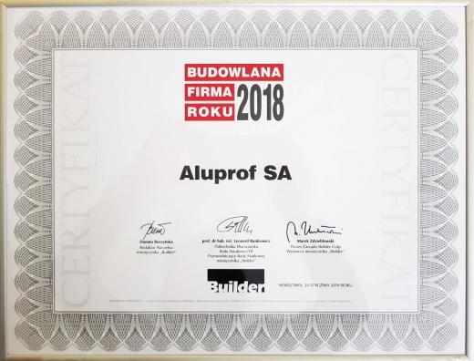 Budowlana Firma Roku 2018 dla Aluprof
