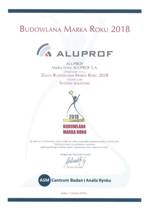 Złota Budowlana Marka Roku 2018 w kategorii Systemy roletowe dla Aluprof