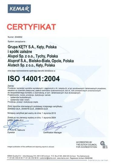 CERTYFIKAT ISO 14001:2004 dla firmy Aluprof
