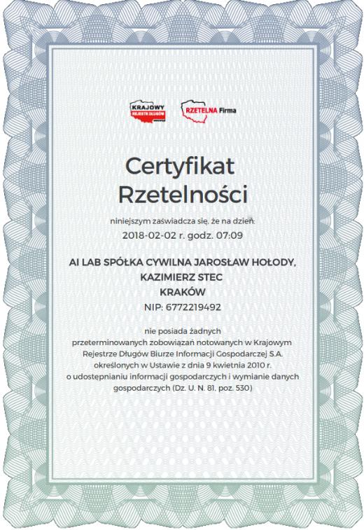 Rzetelna firma - Certyfikat Rzetelności