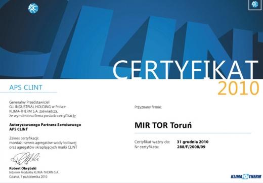 Autoryzowany Partner Serwisowy APS CLINT 2010