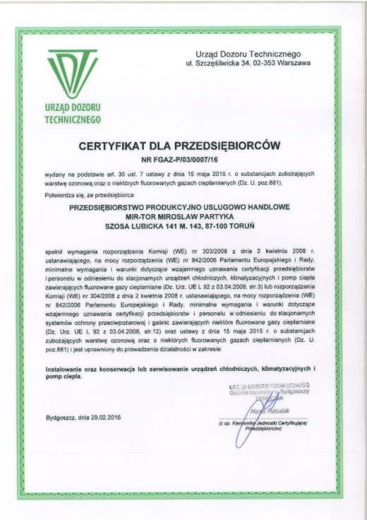 Certyfikat dla przedsiębiorców