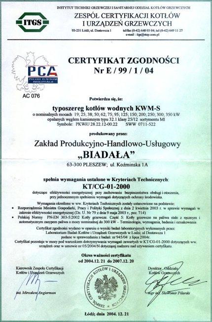 Certyfikat Zgodności Nr E/99/1/04, Z.P.H.U. BIADAŁA