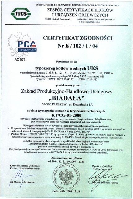 Certyfikat Zgodności Nr E/102/1/04, Z.P.H.U. BIADAŁA