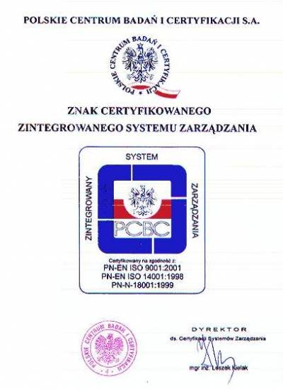 Znak Certyfikowanego Zintegrowanego Systemu Zarządzania firmy FREZWID
