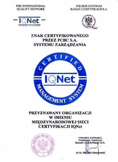 Znak Certyfikowanego przez PCBC S.A. Systemu Zarzadzania firmy FREZWID