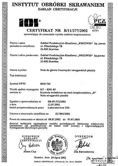 Certyfikat uprawniający do oznaczania wyrobu znakiem bezpieczeństwa firmy FREZWID