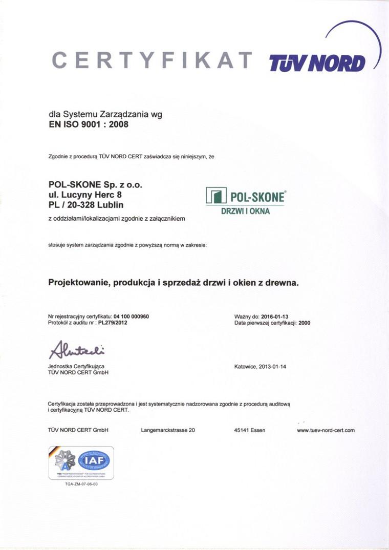 Certyfikat TÜV POL-SKONE