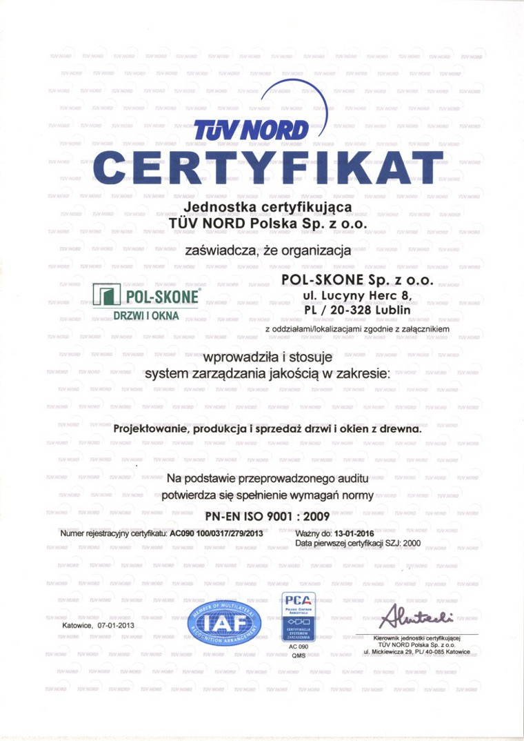 Certyfikat TÜV PCA POL-SKONE
