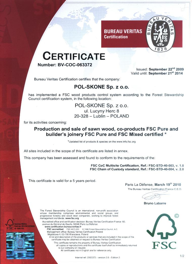 Certyfikat FSC POL-SKONE