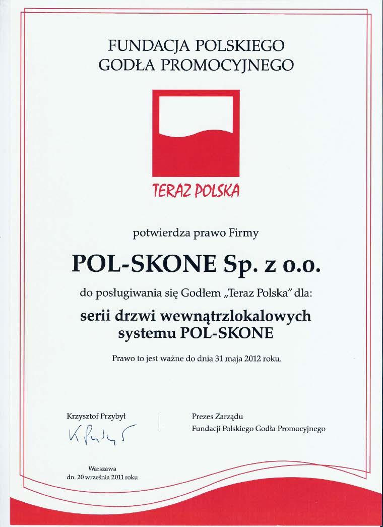 Certyfikat Teraz Polska - drzwi wewnątrzlokalowe POL-SKONE
