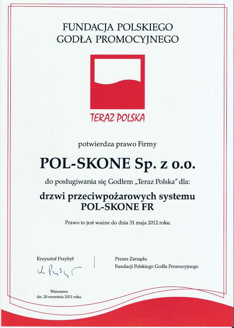Certyfikat Teraz Polska - drzwi przeciwpożarowe POL-SKONE