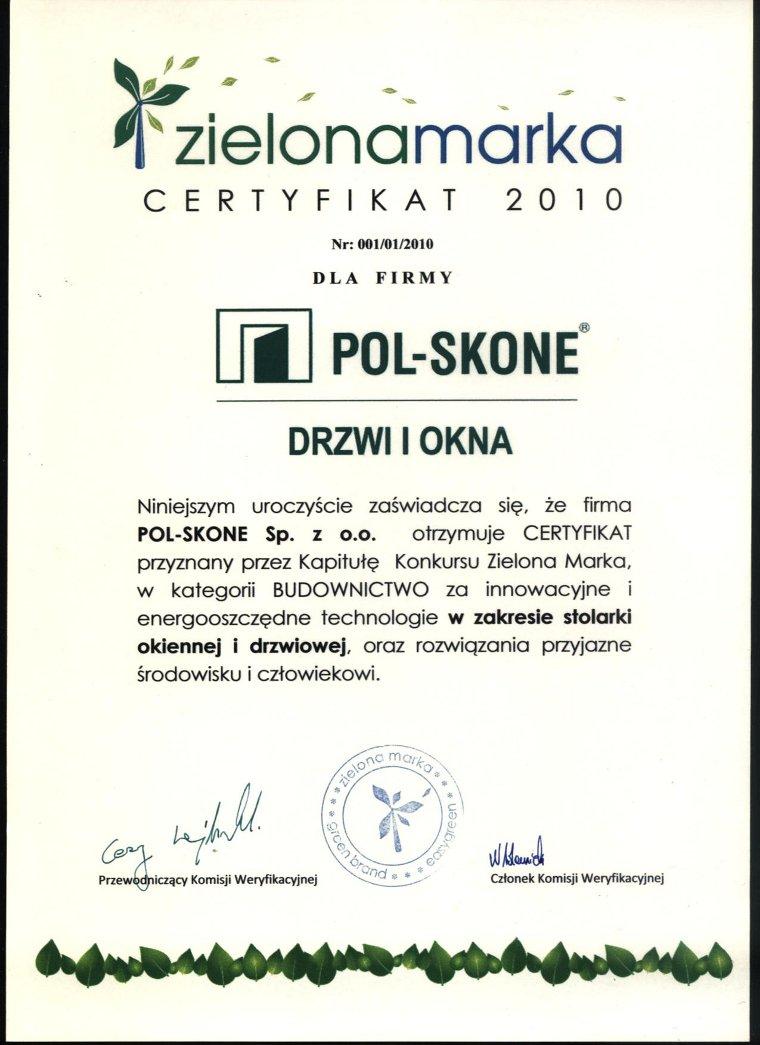 Certyfikat Zielona Marka POL-SKONE