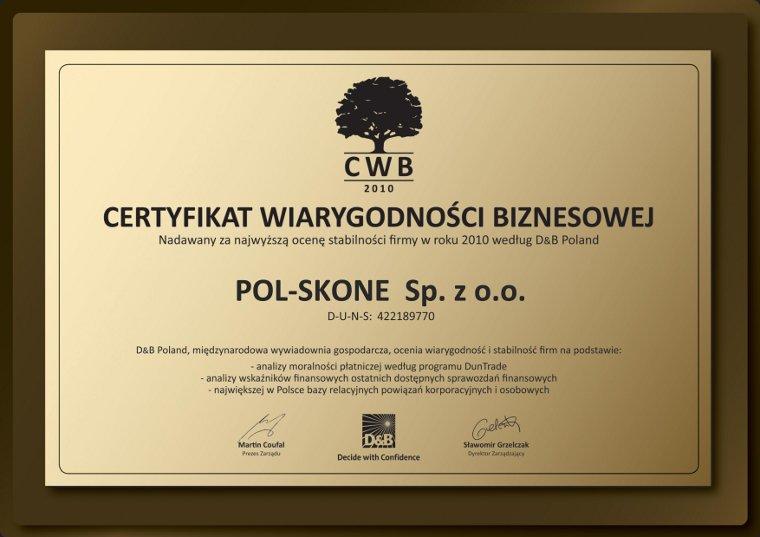 Certyfikat Wiarygodności Biznesowej POL-SKONE