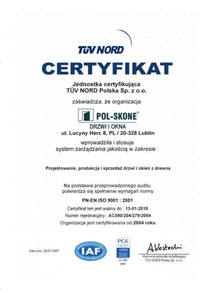 Certyfikat PN-EN ISO 9001:2001 POL-SKONE