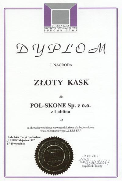 I Nagroda ZŁOTY KASK POL-SKONE