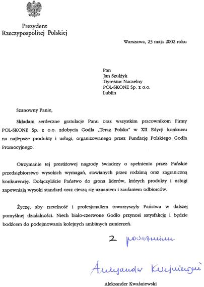 """Godło """"Teraz Polska"""" - XII edycja - gratulacje POL-SKONE"""