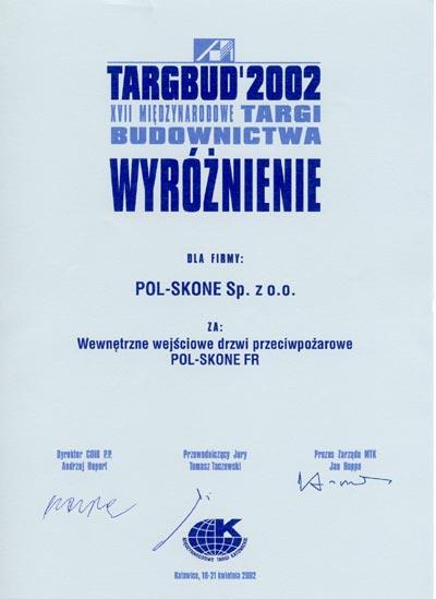 TARGBUD 2002 - Wyróżnienie POL-SKONE