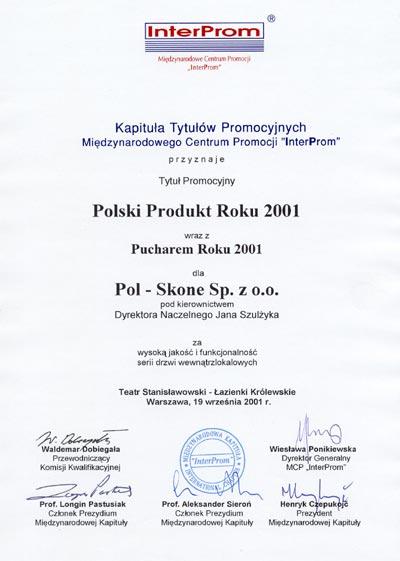 Polski Produkt Roku 2001 POL-SKONE