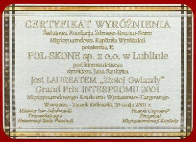 Certyfikat Wyróżnienia POL-SKONE