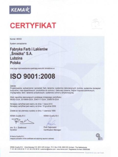 Certyfikat ISO 9001:2008 Śnieżka