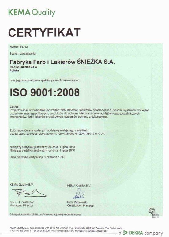 Certyfikat Jakości ISO 9001 Śnieżka