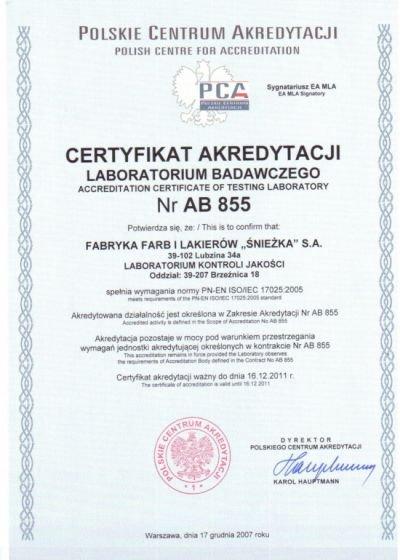 Akredytacja dla Laboratorium Kontroli Jakości FFiL Śnieżka