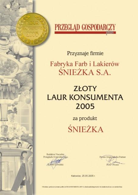"""Złote Godło """"Laur Konsumenta 2005"""" Śnieżka"""