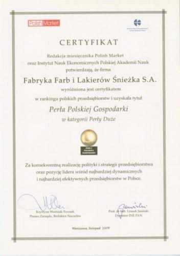 Certyfikat Perła Polskiej Gospodarki 2009