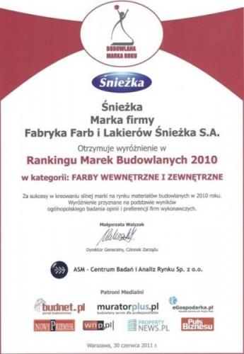 Wyróżnienie Ranking Marek Budowlanych 2010