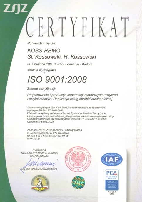 Certyfikat ISO 9001:2008, KOSS-REMO