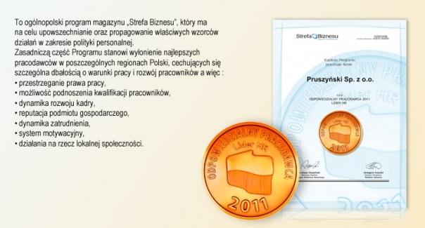 Odpowiedzialny Pracodawca firmy Blachy Pruszyński